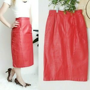 80-90s Vintage Red Leather Midi Pencil Skirt XS/S